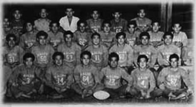 Kalihi Valley barefoot football league champions, 130-lb. class, 1944. (Photo courtesy Tokio Okudara.)