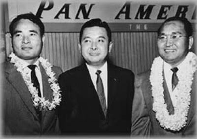 Left to right: Interviewee Tadao Beppu, Daniel Inouye, and interviewee Mike Tokunaga on a trip to the Democratic Western Region Conference, San Francisco, 1957. (Photo courtesy Betty Tokunaga.)