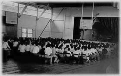 Cecil Dotts' English class performs an adaptation of A Mid-Summer's Night Dream, Konawaena School gym, 1932. (Photo courtesy Cecil Dotts.)