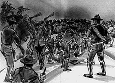 Re-creation of the battle between police and strikers on September 9, 1924 in Hanapepe. (Drawing by Ray Higuchi, Honolulu Star-Bulletin.)