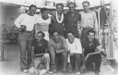 Graduates and students of Kamehameha School onboard the Itasca, 4th expedition, January 1936. Back row, left to right: Luther Waiwaiole, Henry Ohumukini, William Yomes, Solomon Kalama, James Carroll. Front row, left to right: Henry Mahikoa, Alexander Kahapea, George Kahanu, Sr., Joseph Kim. (Photo courtesy George Kahanu, Sr.)